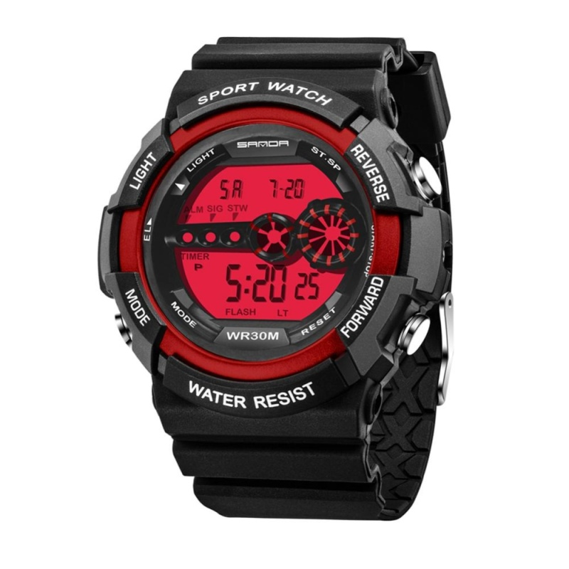 Kids Waterproof Electronic Outdoors Sports Wrist Watch(Red) - intl bán chạy