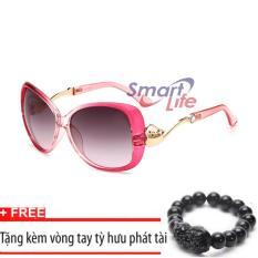 Giá Kính mát cá tính Sino S1047 viền hồng+Tặng kèm vòng tay thạch anh tỳ hưu đen  Smart Life