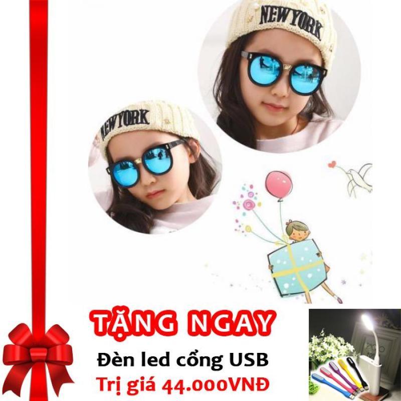 Mua Kính mát cho bé chống tia UV phong cách Hàn Quốc 2016 Korea kids F653 (Xanh) + Tặng đèn LED cổng USB