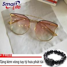 Giá Khuyến Mại Kính mát nữ thời trang Sino S2017 màu hồng+Tặng kèm vòng tay thạch anh tỳ hưu đen  Smart Life