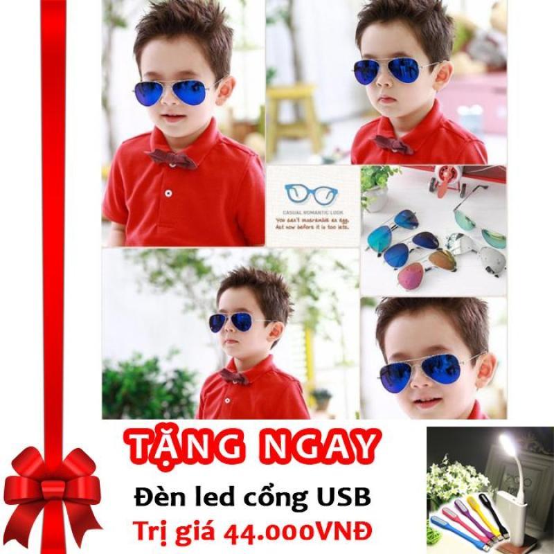 Mua Kính thời trang phản quang cực chống tia UV siêu đáng yêu cho bé Korea Kids 2017 F171 (Xanh) + Tặng đèn LED cổng USB