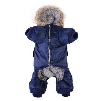 Lemon Warm Small Dog Pet Clothes Apparel Hoodie JumpsuitPantsForwinterblue L - intl