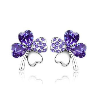Lucky Crystal Four-Leaf Earrings 8 colors-Purple - intl