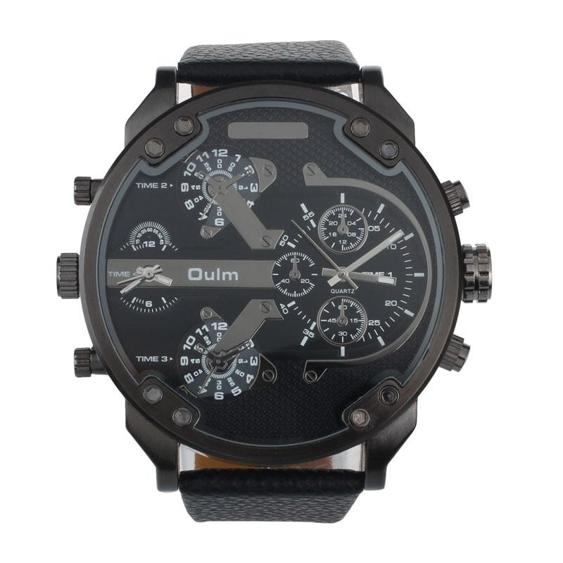 Nơi bán Luxury Military Army Dual Time Quartz Large Dial Wrist Watch Oulm Black - intl