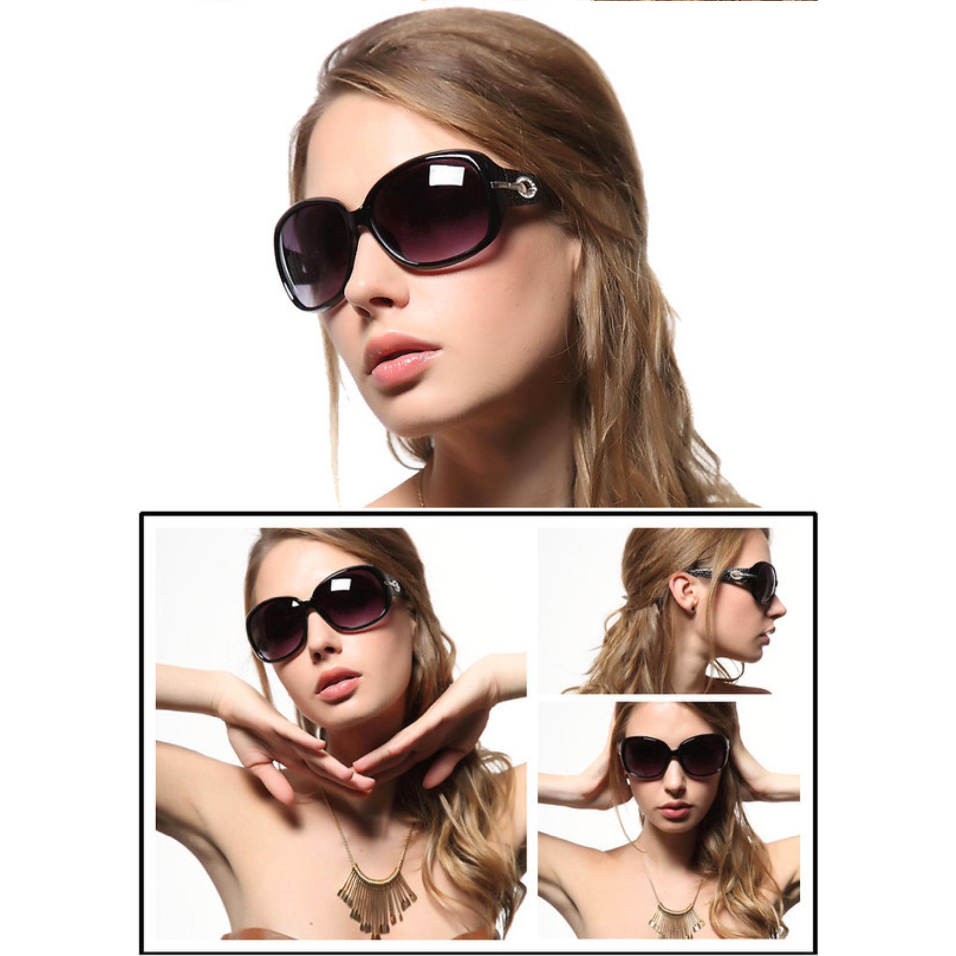 Mắt kính nữ thời trang, kính mát gọng caro (Đen)