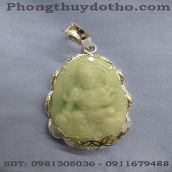 Mặt phật Phổ hiền Bồ tát đá ngọc xanh dài 6,1 x 3,7 cm