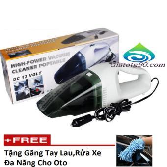 Máy hút bụi xe ô tô cầm tay Vacuum 12 tặng găng tay chuyên dụnglau, rửa xe hơi
