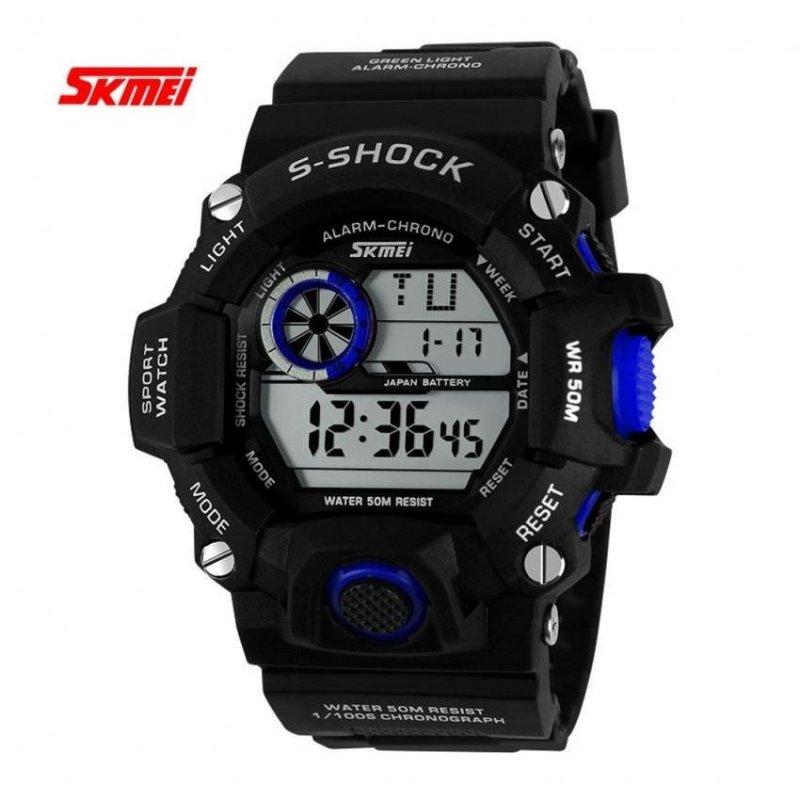 Nơi bán Men LED Multy func Digital Waterproof Silicone Sport Watch Blue - intl