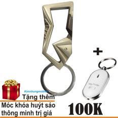 Móc chìa khóa ô tô PROUD HORSE OM096 cao cấp (vàng) + Móc khóa huýt sáo thông minh