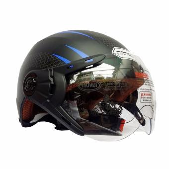 Mũ Bảo Hiểm Napoli N077 có kính tem V2  - Bảo hành 12 tháng ( đen phối xanh dương)