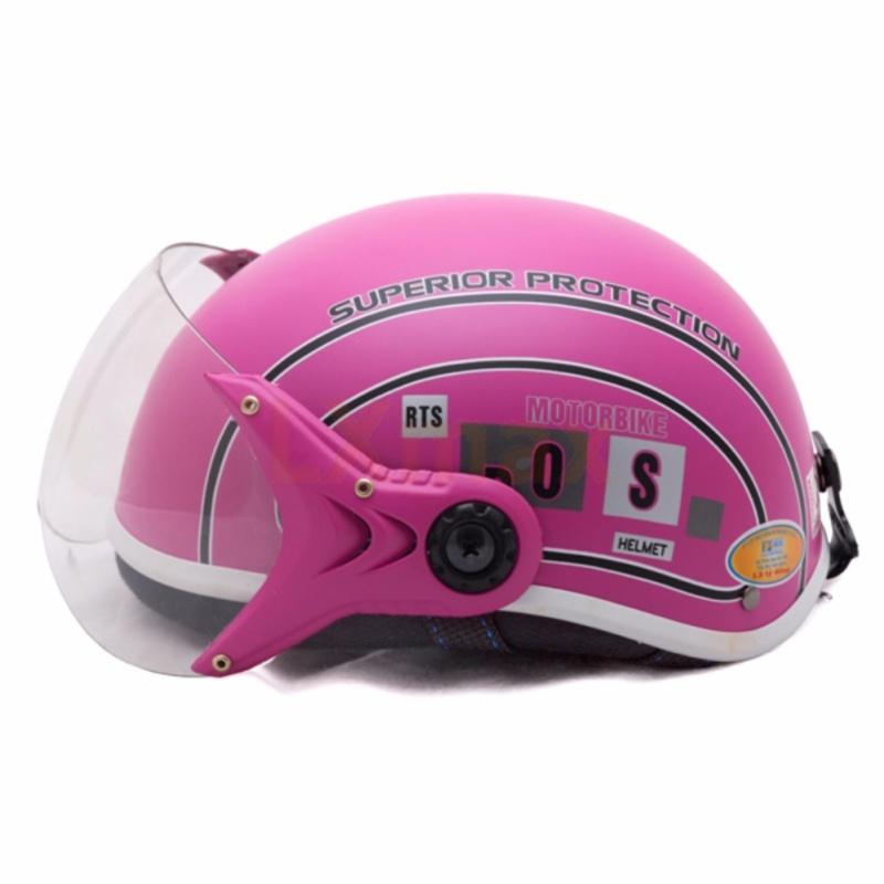 Mũ bảo hiểm SPO trẻ em có kính cao cấp (Hồng)