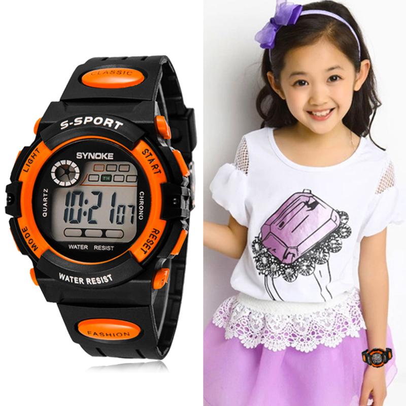 Multifunction Waterproof Child Boy Girl Sport Electronic Wrist Watch Orange bán chạy