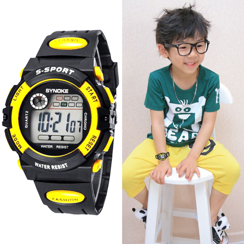 Multifunction Waterproof Child Boy Girl Sport Electronic Wrist Watch Yellow (Intl) bán chạy