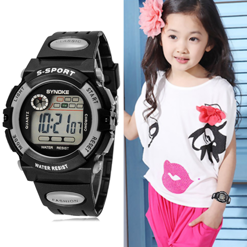 Multifunction Waterproof Child Boy Girl Sports Electronic Wrist Watch Grey - intl bán chạy