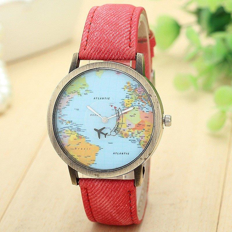 Nơi bán New Global Travel By Plane Map Women Dress Watch Denim Fabric Band Red