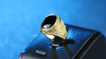 Newest Men's Inlaid Ring Resin Gem-Gold Size #19 - intl