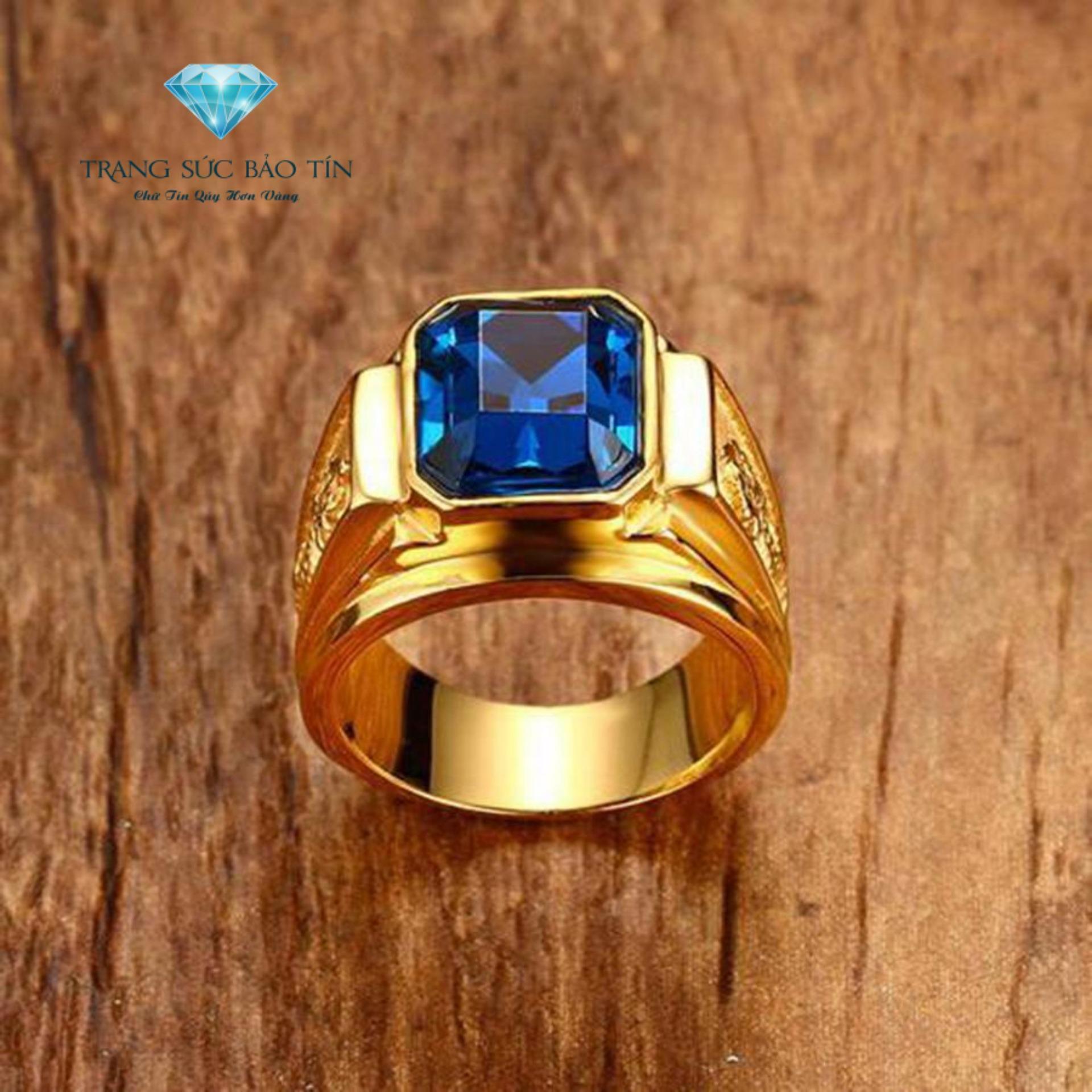 Nhẫn Nam Rồng Vàng Chất Liệu Titan Mạ Vàng 18K Cao Cấp Cho Nam (xanh dương)