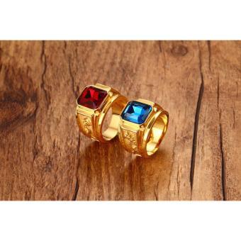 Nhẫn nam thời trang chạm rồng mạ vàng 24k, mặt đá xanh biển (blue) RC18
