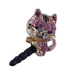 Báo Giá niceEshop 3.5mm Universal Crystal Diamond Lazy Sleeping Cat Dust Plug Anti Dust Proof for Samsung iPhone HTC Etc (Pink)   niceE shop