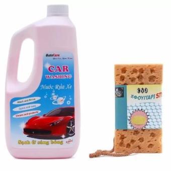 Nước rửa ô tô xe máy chuyên dụng Auto Care kèm Mút lau rửa xeHanghot365
