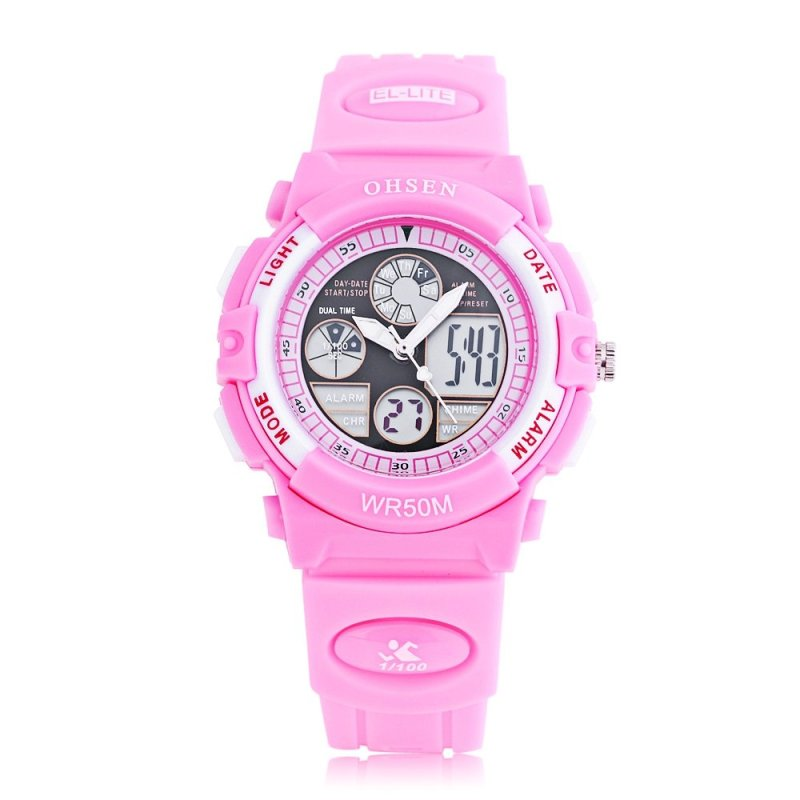 OHSEN AD1502 Dual Movt Quartz Digital Watch Chronograph Calendar Alarm Luminous 5ATM Wristwatch (Pink) - intl bán chạy
