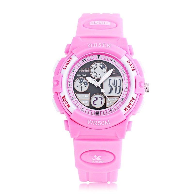 Nơi bán OHSEN AD1502 Dual Movt Quartz Digital Watch Chronograph Calendar Alarm Luminous 5ATM Wristwatch (Pink) - intl