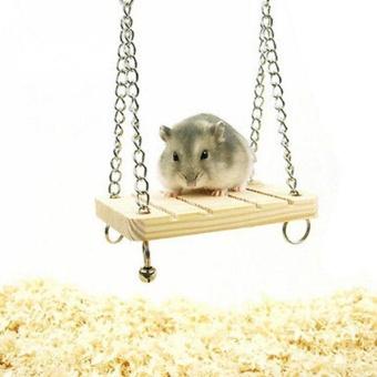 Pet Hamster Parrot Rat Wooden Seesaw Swing Hanging Suspension Play Toy - intl