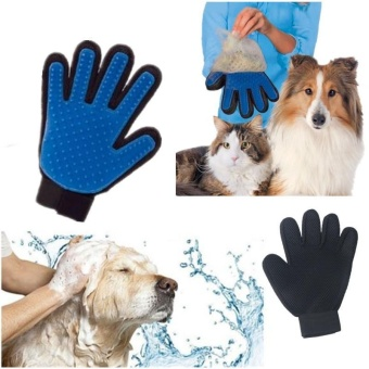 Product Silicone True Touch Glove Deshedding Gentle Efficient Pet Grooming Dogs - intl