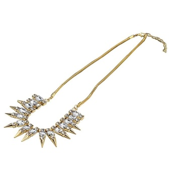 Punk Women Crystal Rhinestone Rivet Chain Pendant Party Necklace Gifts - intl