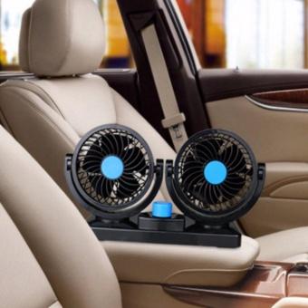 Quạt máy đôi xoay 360 độ trên ô tô - Nguồn 12V (Đen)