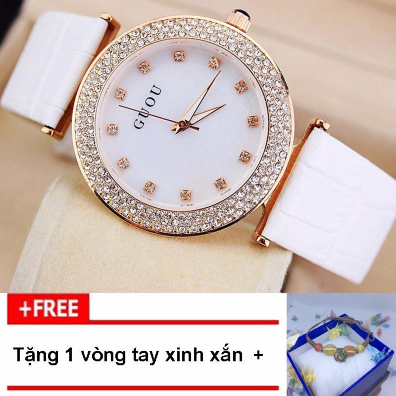 Nơi bán [RINH QUÀ KHI MUA] Đồng hồ nữ thương hiệu GUOU dây da mặt số đính đá G45-4, tặng vòng tay thời trang