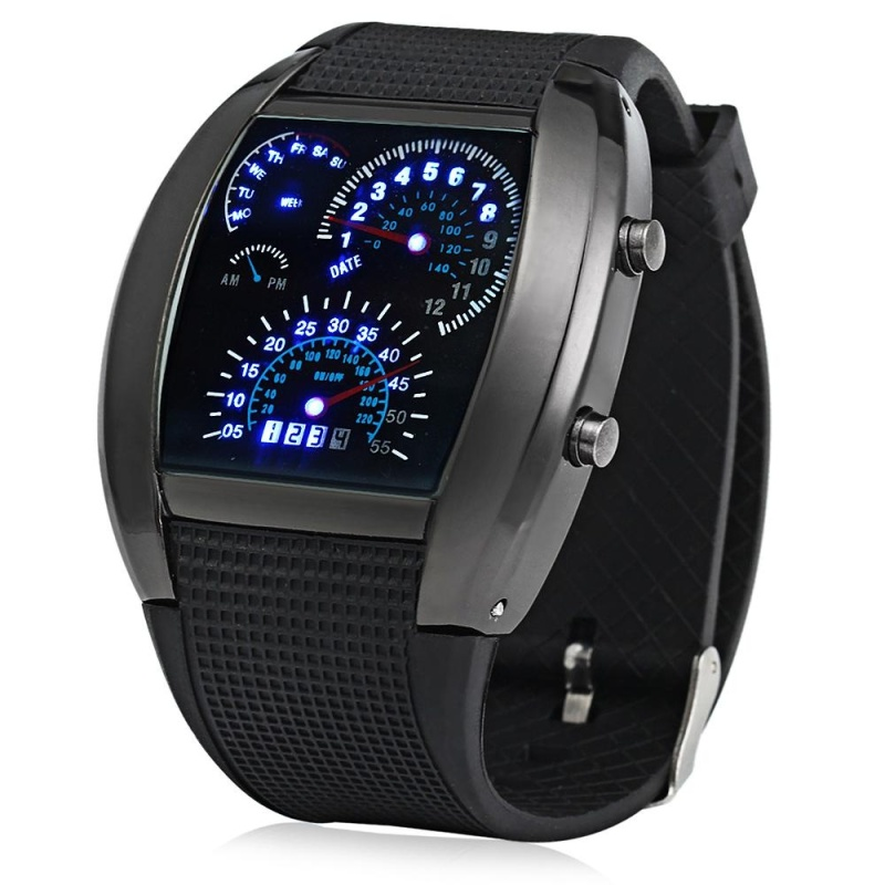 Nơi bán Rubber Band LED Car Watch / Table With Blue Light Display Time Arch Shaped - intl