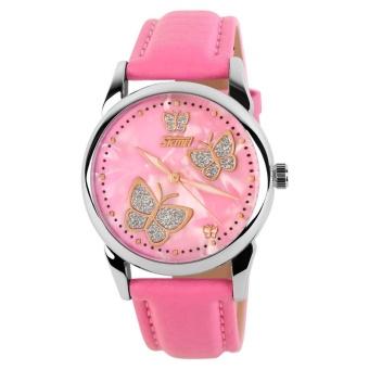 Skmei Women Fashion Waterproof Leather Strap Wrist Watch - Pink9079 - intl