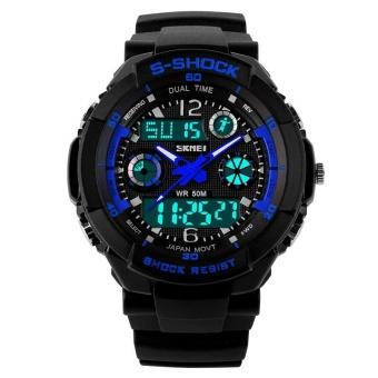 SKMEI Women Sport LED Waterproof Rubber Strap Wrist Watch - Blue 0931 - intl