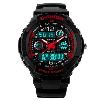 SKMEI Women Sport LED Waterproof Rubber Strap Wrist Watch - Red 0931 - intl