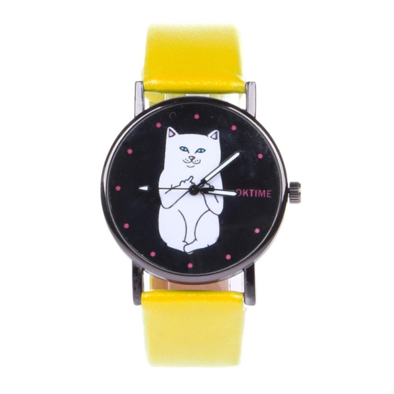 Student Lovely Cat Round Black Crystal Dial Quartz Watch (Yellow) - intl bán chạy