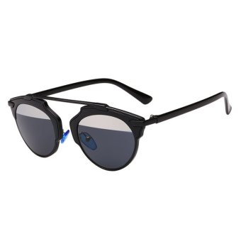 Sunglasses Cat Eye Vintage Mirror Lens Black