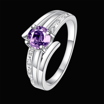 Temperament Sterling Silver Zircon Ring Women Jewelry Purple(Intl)
