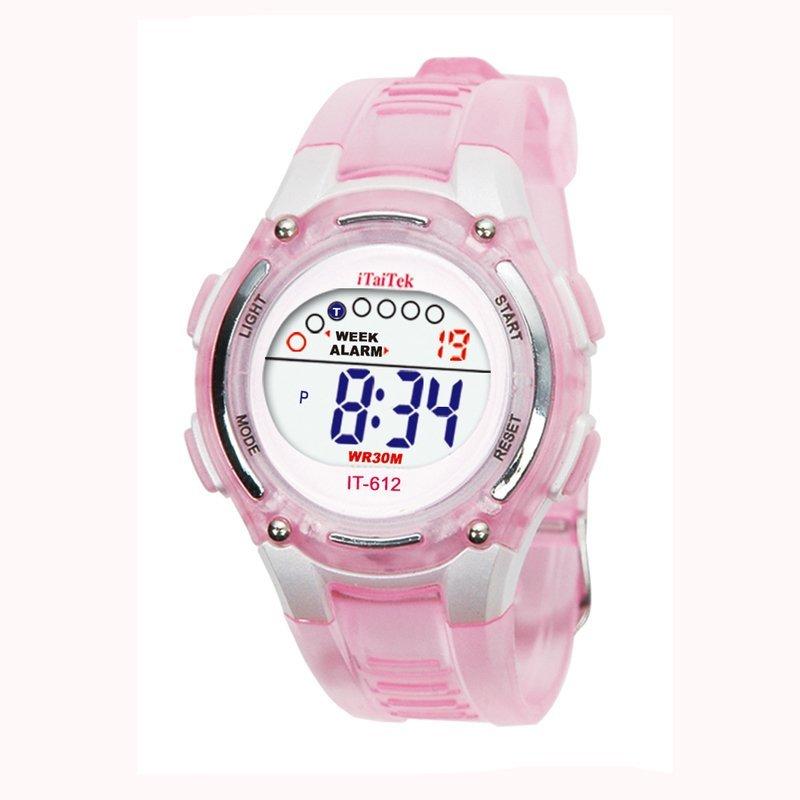 Trẻ em trai Girls Bơi Thể thao Kỹ thuật số chống thấm nước Wrist Watch   Hồng bán chạy