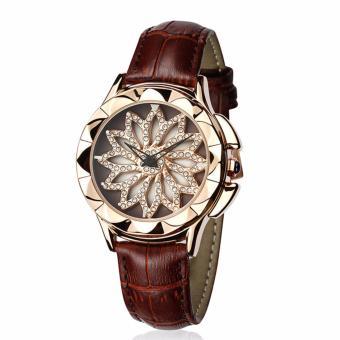 Cập Nhật Giá [TRỢ GIÁ-TRI ÂN CUỐI NĂM] Đồng hồ nữ hoa xoay 360 độ SANDA JAPAN dây da độc đáo P211 – 4 màu sang trọng