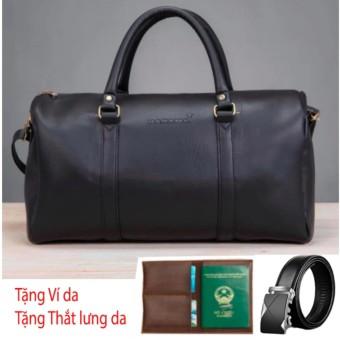 Túi Xách Da Du Lịch Hanama - N1 đen Tặng Thắt lưng và ví passport