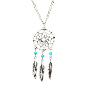 Turquoise Stone Bead Dreamcatcher Feather Charm Pendant Necklace(Intl)
