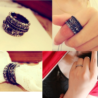 Unique Retro Crystal Rhinestone Gorgeous Finger Ring Five-piece Set Ring(Intl)