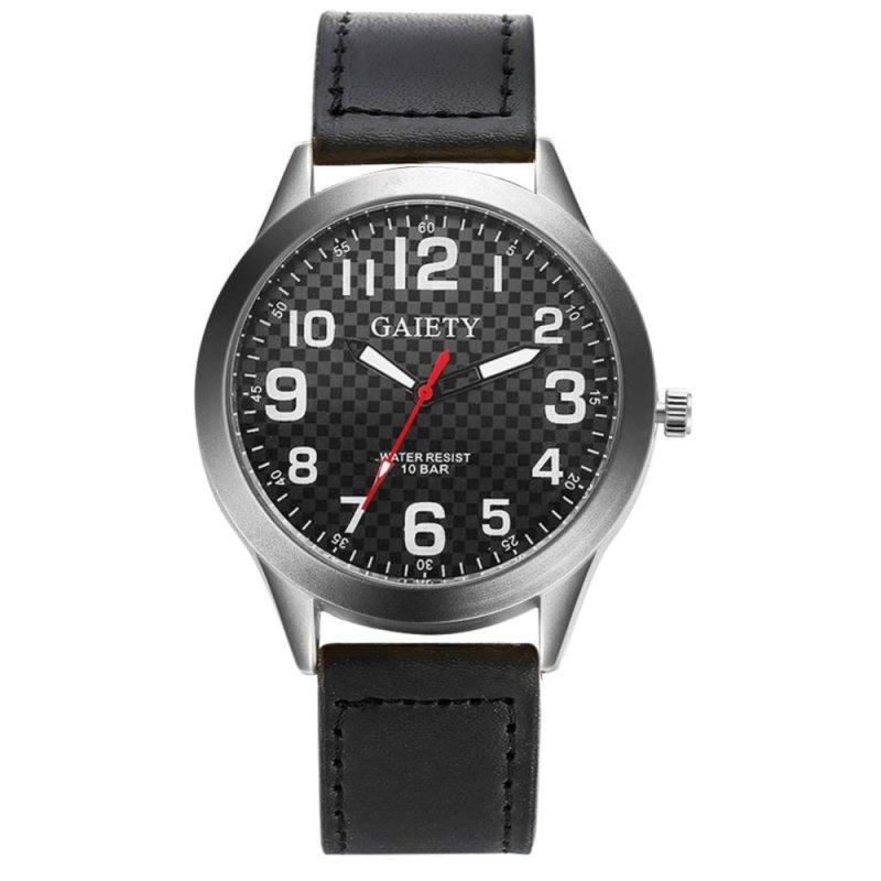 Unisex Luxury Leather Quartz Business Clock Dress Watch (Black) - intl bán chạy