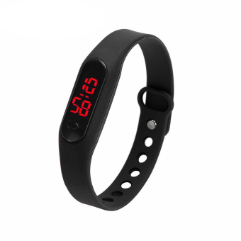 Unisex Sports Casual Date Sports Bracelet Digital Watch (Black) - intl