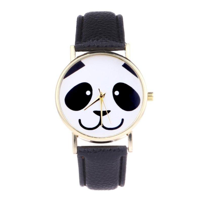 Unisex Student Fashion Lovely Panda Leather Quartz Wristwatch (Black) - intl bán chạy