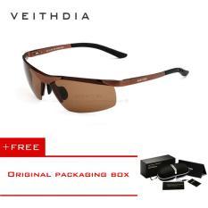 ซื้อ Veithdia แบรนด์ Alumunum แว่นตากันแดด Polarized Uv400 แว่นตากันแดดกระจกเงา Rimless Rectangle บุรุษแว่นตากันแดดสำหรับผู้ชาย 6501 ถูก จีน
