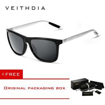 VEITHDIA เรโทรอลูมิเนียมยี่ห้อเพศ + TR90 แว่นตากันแดดแว่นตาเลนส์อุปกรณ์สนามแม่เหล็กโบราณแว่นกันแดดสำหรับคน/ผู้หญิง 6108 (สีเทา \[ซื้อ 1 ได้ 1 อิสระ]