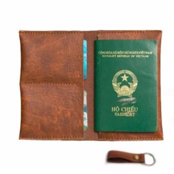 Ví Passport Đựng Hộ Chiếu (Vàng Bò) - Tặng Móc Khóa Da