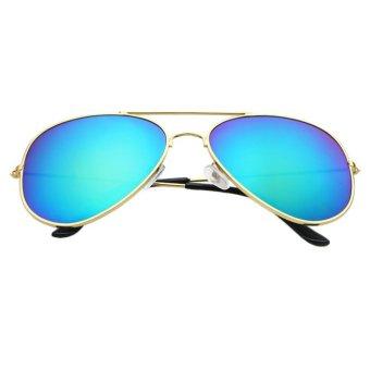 Vintage Retro Aviator Mirror Lens Sunglasses Gold+Light Blue